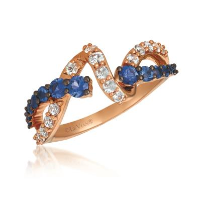 14K Strawberry Gold® Blueberry Sapphire™ 5/8 cts., White Sapphire 1/2 cts. Ring