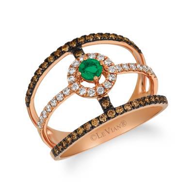 14K Strawberry Gold® Costa Smeralda Emeralds™ 1/6 cts. Ring