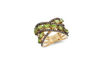 14k honey gold™ green apple peridot™ 2 cts. ring with chocolate diamonds® 3/4 cts.