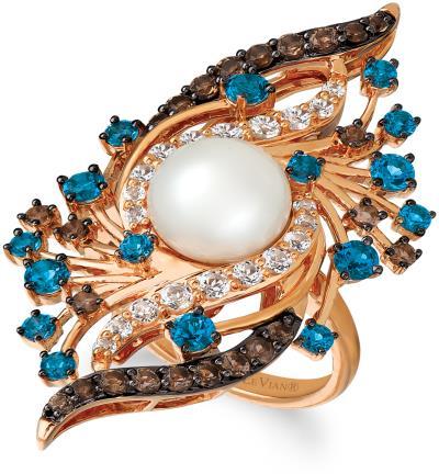 14K Strawberry Gold® Vanilla Topaz™ 3/4 cts., Deep Sea Blue Topaz™ 1  1/3 cts., Chocolate Quartz® 5/8 cts., Vanilla Pearls™  cts. Ring