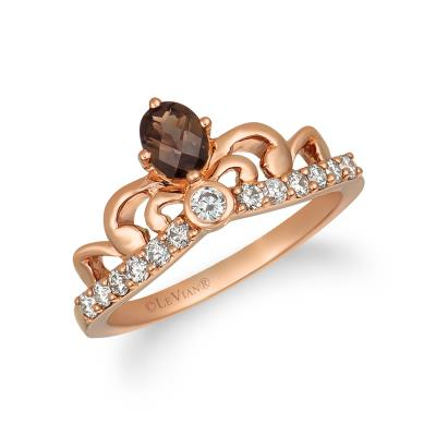 14K Strawberry Gold® Chocolate Quartz® 1/4 cts. Ring with Nude Diamonds™ 1/3 cts.