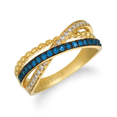 14K Honey Gold™ Blueberry Sapphire™ 1/4 cts. Ring with Nude Diamonds™ 1/5 cts.