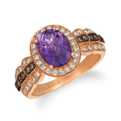 14k strawberry gold® grape amethyst™ 1  1/2 cts. ring with chocolate diamonds® 1/8 cts., nude diamonds™ 3/8 cts.