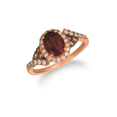 14K Strawberry Gold® Raspberry Rhodolite® 1  1/3 cts. Ring with Nude Diamonds™ 1/3 cts., Chocolate Diamonds® 1/8 cts.
