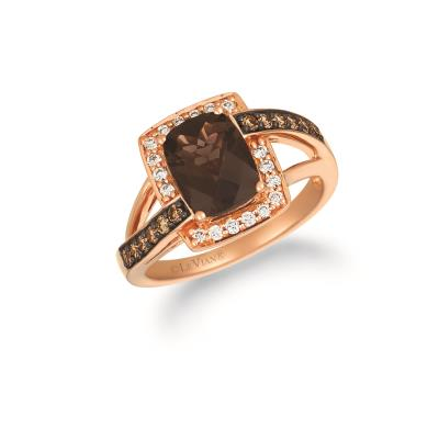 14K Strawberry Gold® Chocolate Quartz® 1  5/8 cts. Ring with Chocolate Diamonds® 1/4 cts., Nude Diamonds™ 1/6 cts.