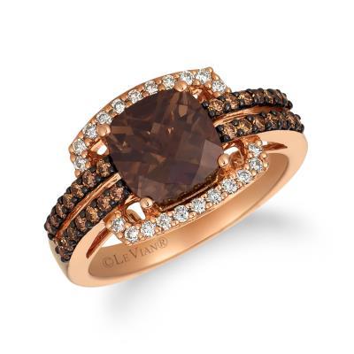 14K Strawberry Gold® Chocolate Quartz® 1  3/4 cts. Ring with Chocolate Diamonds® 1/3 cts., Nude Diamonds™ 1/5 cts.