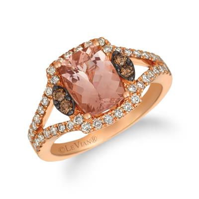 14k strawberry gold® peach morganite™ 1  1/2 cts. ring with chocolate diamonds® 1/10 cts., nude diamonds™ 1/2 cts.