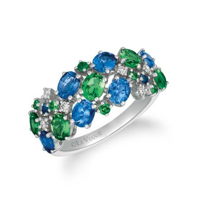 14K Vanilla Gold® Blueberry Sapphire™ 1  3/8 cts., Forest Green Tsavorite™ 1 cts. Ring with Vanilla Diamonds® 1/10 cts.