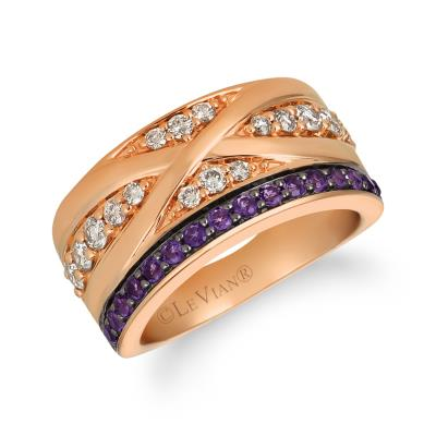 14K Strawberry Gold® Grape Amethyst™ 1/3 cts. Ring with Nude Diamonds™ 1/2 cts.