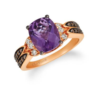 14k strawberry gold® grape amethyst™ 2  5/8 cts. ring with chocolate diamonds® 1/4 cts., nude diamonds™ 1/6 cts.