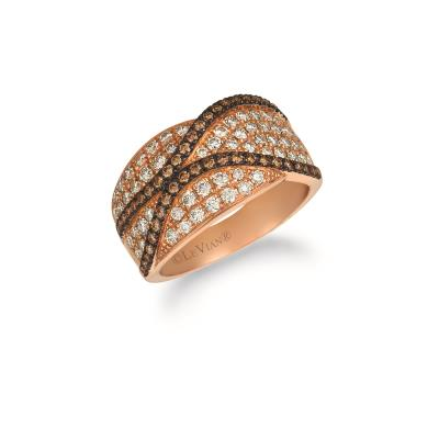 14k strawberry gold® ring with nude diamonds™ 7/8 cts., chocolate diamonds® 3/8 cts.