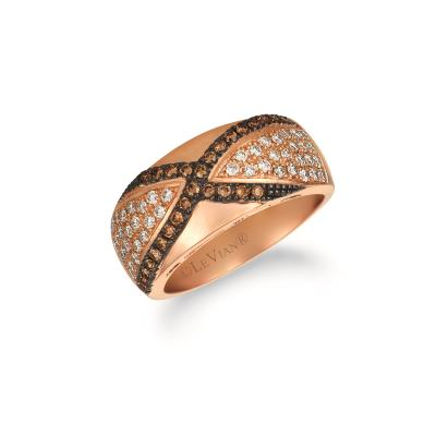 14K Strawberry Gold® Ring with Nude Diamonds™ 1/2 cts., Chocolate Diamonds® 1/4 cts.