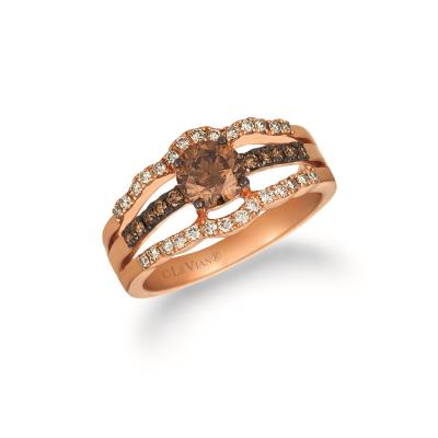 14K Strawberry Gold® Ring with Chocolate Diamonds® 7/8 cts., Nude Diamonds™ 1/4 cts.