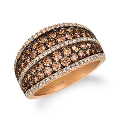 14K Strawberry Gold® Ring with Chocolate Diamonds® 1  1/2 cts., Vanilla Diamonds® 3/8 cts.