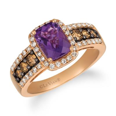 14K Strawberry Gold® Grape Amethyst™ 1  1/4 cts. Ring with Chocolate Diamonds® 1/3 cts., Nude Diamonds™ 1/3 cts.