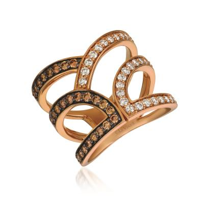 14K Strawberry Gold® Ring with Chocolate Diamonds® 1/2 cts., Nude Diamonds™ 1/2 cts.