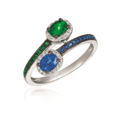 18K Vanilla Gold® Blueberry Sapphire™ 1/2 cts., Green Garnet 3/8 cts. Ring with Vanilla Diamonds® 1/10 cts.