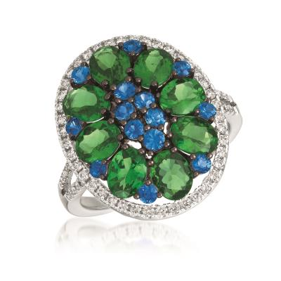 18K Vanilla Gold® Green Garnet 2  5/8 cts., Blueberry Sapphire™ 1/2 cts. Ring with Vanilla Diamonds® 1/3 cts.