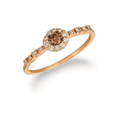 14K Strawberry Gold® Ring with Chocolate Diamonds® 1/10 cts., Nude Diamonds™ 1/6 cts.