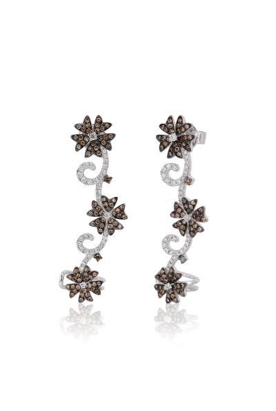 14K Vanilla Gold® Earrings with Vanilla Diamonds® 1/4 cts., Chocolate Diamonds® 1/2 cts.