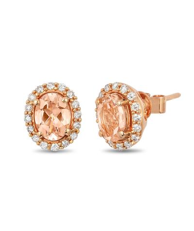 14K Strawberry Gold® Peach Morganite™ 1 cts. Earrings with Vanilla Diamonds® 1/3 cts.