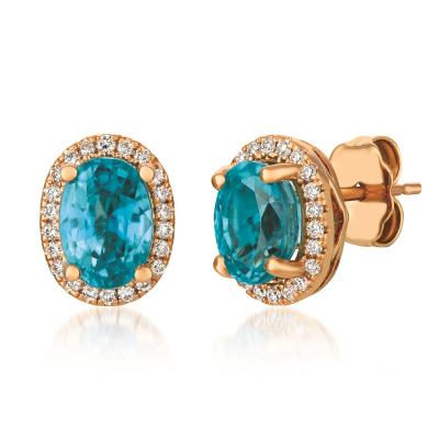 14k strawberry gold® blueberry zircon™ 1  3/4 cts. earrings with vanilla diamonds® 1/6 cts.