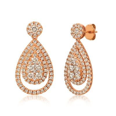 14k strawberry gold® earrings with nude diamonds™ 2  3/8 cts.