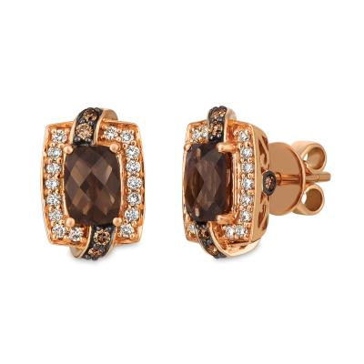 14K Strawberry Gold® Chocolate Quartz® 1  1/2 cts. Earrings with Chocolate Diamonds® 1/6 cts., Nude Diamonds™ 1/4 cts.