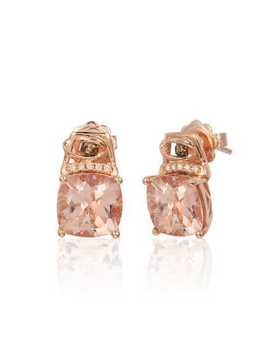 14K Strawberry Gold® Peach Morganite™ 4  1/5 cts. Earrings with Chocolate Diamonds®  cts., Vanilla Diamonds® 1/20 cts.