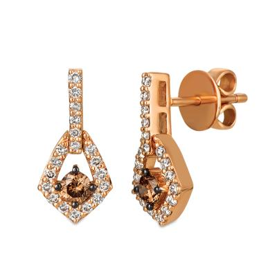 14k strawberry gold® earrings with chocolate diamonds® 1/3 cts., nude diamonds™ 3/8 cts.
