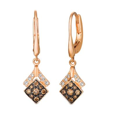 14K Strawberry Gold® Earrings with Chocolate Diamonds® 1/3 cts., Nude Diamonds™ 1/8 cts.