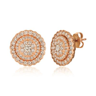 14k strawberry gold® earrings with nude diamonds™ 1  1/2 cts.