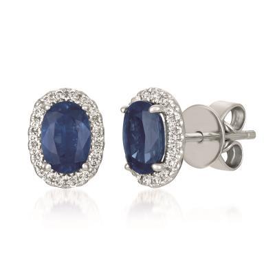 14K Vanilla Gold® Blueberry Sapphire™ 1 cts. Earrings with Vanilla Diamonds® 1/8 cts.