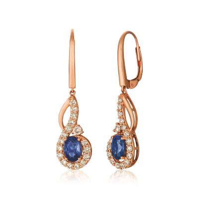 14K Strawberry Gold® Blueberry Sapphire™ 1 cts. Earrings with Nude Diamonds™ 5/8 cts.