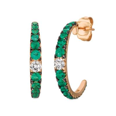 14K Strawberry Gold® Costa Smeralda Emeralds™ 3/4 cts. Earrings with Vanilla Diamonds® 1/5 cts.