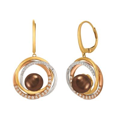 14k tri color gold chocolate pearls®  cts. earrings with vanilla diamonds® 3/8 cts.