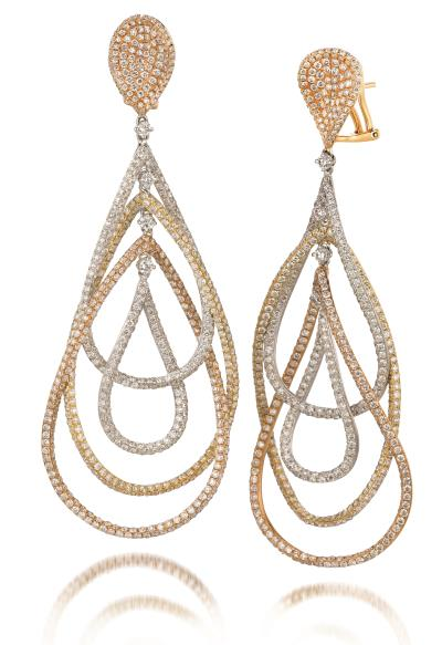 18k tri color gold earrings with vanilla diamonds® 3  5/8 cts.