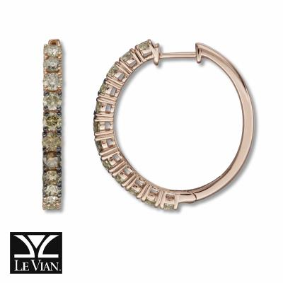 14K Strawberry Gold® Earrings with Nude Diamonds™ 1 cts., Chocolate Diamonds® 1 cts.