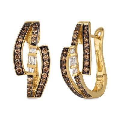 14k honey gold™ earrings with chocolate diamonds® 5/8 cts., vanilla diamonds® 1/8 cts.