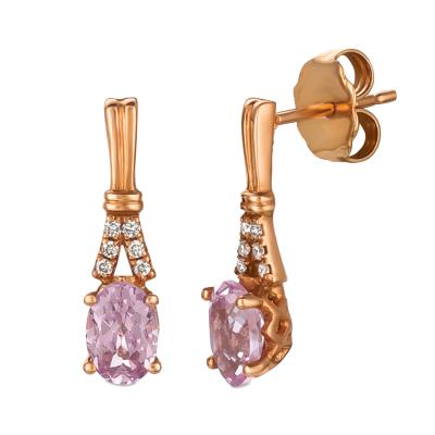 14K Strawberry Gold® Rose Spinel 1 cts. Earrings with Vanilla Diamonds®  cts.