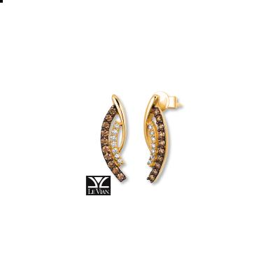 14K Honey Gold™ Earrings with Chocolate Diamonds® 1/3 cts., Vanilla Diamonds® 1/10 cts.