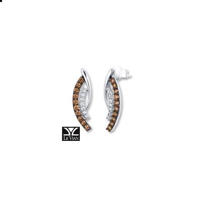 14K Vanilla Gold® Earrings with Chocolate Diamonds® 1/3 cts., Vanilla Diamonds® 1/10 cts.