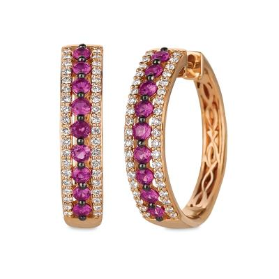 14K Strawberry Gold® Passion Ruby™ 5/8 cts. Earrings with Vanilla Diamonds® 1/3 cts.