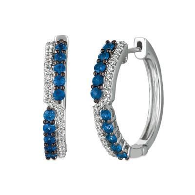 14K Vanilla Gold® Blueberry Sapphire™ 3/4 cts. Earrings with Vanilla Diamonds® 1/5 cts.
