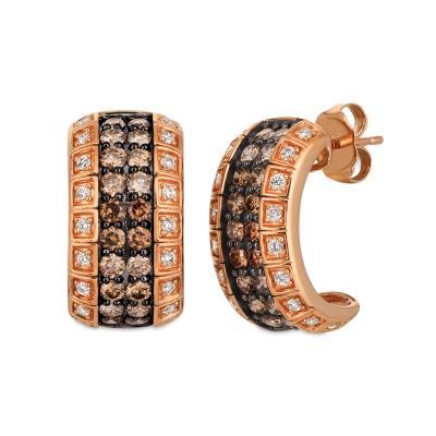14K Strawberry Gold® Earrings with Chocolate Diamonds® 1  1/4 cts., Vanilla Diamonds® 1/4 cts.
