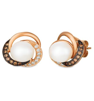 14K Strawberry Gold® Vanilla Pearls™  cts. Earrings with Chocolate Diamonds® 1/8 cts., Vanilla Diamonds® 1/8 cts.