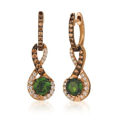 14K Strawberry Gold® Pistachio Diospide® 3/4 cts. Earrings with Chocolate Diamonds® 1/4 cts., Vanilla Diamonds® 1/5 cts.
