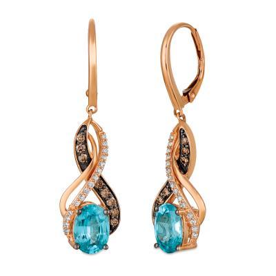 14K Strawberry Gold® Blueberry Zircon™ 2  5/8 cts. Earrings with Chocolate Diamonds® 1/4 cts., Vanilla Diamonds® 1/6 cts.