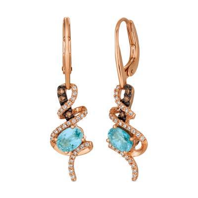 14K Strawberry Gold® Blueberry Zircon™ 1  3/4 cts. Earrings with Chocolate Diamonds® 1/10 cts., Vanilla Diamonds® 1/4 cts.