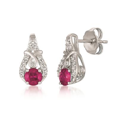 14k vanilla gold® passion ruby™ 1/2 cts. earrings with vanilla diamonds® 1/6 cts.